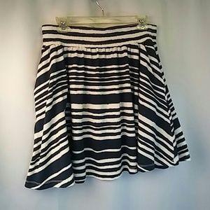 H & M Blue and White Skater Skirt, M